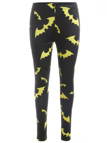 Halloween Bats Print Slim Leggings
