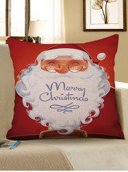 Christmas Santa Claus Pattern Decorative Linen Pillowcase -