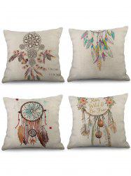 4 taies d'oreiller en lin avec impression Dream Catcher -
