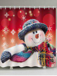 Christmas Snowman Print Waterproof Bathroom Shower Curtain -