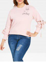 Plus Size Bow Tie Letter Sweatshirt -
