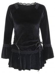 Gothic Style Sweetheart Neck Long Sleeve Pure Color Lace-Up Women's Blouse -