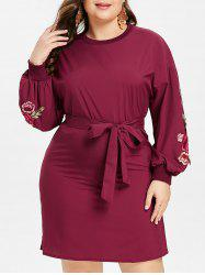 Plus Size Embroidered Belted Dress -