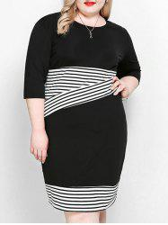 Stripe Plus Size Sheath Dress -