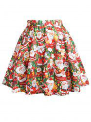 Plus Size Christmas Santa Claus Print Mini Skirt -