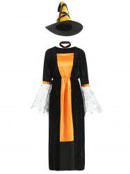 Halloween Contrast Velvet Dress with Witch Hat -