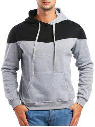 Casual Contrast Color Drawstring Hoodie -