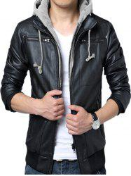 Dismountable Hat False Two Pieces Biker Jacket -