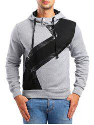 Faux Leather Patchwork Casual Hoodie -