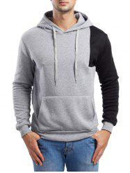 Asymmetric Contrast Color Pullover Hoodie -