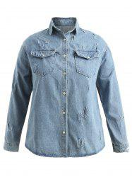 Plus Size Button Up Jean Shirt Jacket -