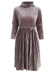 High Waist Velvet Pleated Dress -