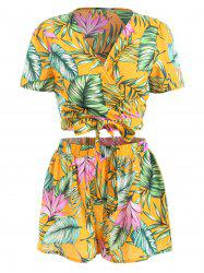 Tropical Print Wrap Crop Top and Shorts -