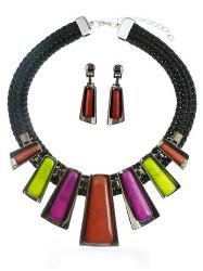 Colored Rhinestone Rope Pendant Necklace Earrings Set -