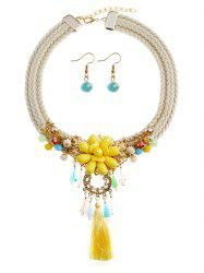 Bohemian Floral Fringed Necklace and Earrings Set -