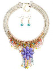 Bohemian Floral Star Fringed Necklace and Earrings -