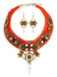 Bohemian Colored Rhinestone Inlaid Necklace and Earrings Suit -