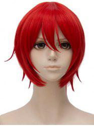 Inclined Bang Short Straight Anime Cosplay Party Synthetic Wig -