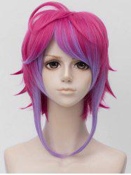 Inclined Bang Short Colormix Straight Anime Cosplay Synthetic Wig -
