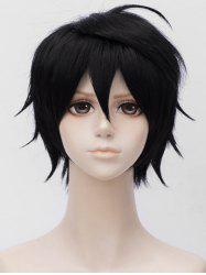 Short Inclined Bang Straight Anime Cosplay Synthetic Wig -