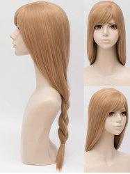 Inclined Bang Long Straight Braided Anime Cosplay Synthetic Wig -