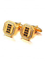 Rhinestone Inlaid Geometric Cufflinks -