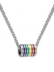 Colored Cylinder Alloy Pendant Necklace -