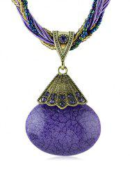 Artificial Gemstone Pendant Beaded Chain Necklace -