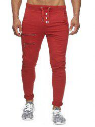 Zip and Button Embellished Solid Color Casual Pants -