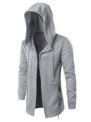Solid Open Front Drawstring Longline Hoodie -