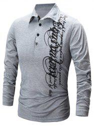 Casual Letter Print Polo Collar Shirt -