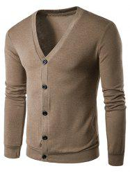 V Neck Button Up Solid Cardigan -