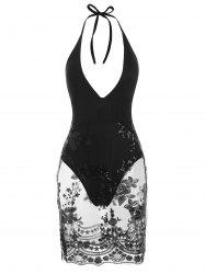 Plunge Bodysuit With Sequined Mesh Overlay -