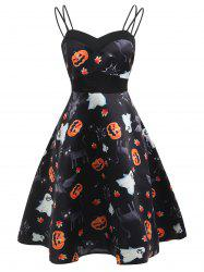 Vintage Halloween Pumpkin Print Dress -