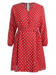 Plus Size Polka Dot Belted Flare Dress -