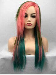 Long Side Bang Colorful Straight Cosplay Party Synthetic Wig -