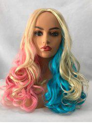 Middle Part Long Colorful Rainbow Wavy Party Cosplay Synthetic Wig -