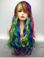 Inclined Bang Long Colorful Wavy Party Carnival Synthetic Wig -