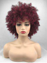 Short Inclined Bang Shaggy Afro Kinky Curly Synthetic Wig -