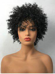 Inclined Bang Short Shaggy Afro Curly Synthetic Wig -