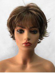 Short Side Bang Layered Colormix Natural Straight Synthetic Wig -