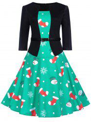 Vintage Christmas Socks Snowman Print Flare Dress -