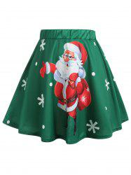 Christmas Santa Claus and Snowflake Print Plus Size Skirt -