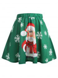 Christmas Plus Size Santa Claus Print Skirt -