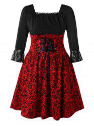Plus Size Square Neck Lace Up Print Vintage Lace Splicing Dress -