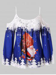 Plus Size Cold Shoulder Santa Claus Christmas Cami Top -