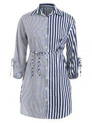 Plus Size Stripe Panel Shirt Dress -