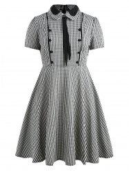 Plus Size Peter Pan Collar Tartan Dress -