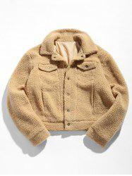 ZAFUL Snap Button Flap Pocket Fluffy Jacket -