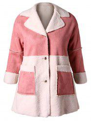 Plus Size Suede Splicing Faux Lamb Wool Color Block Coat -